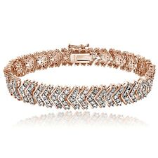 18K Rose Gold Brass 1ct TDW Natural Diamond Chevron Bracelet