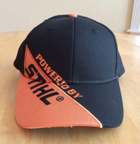 New Powered By STIHL Hat Cap Black Twill w Orange Mesh appliqué