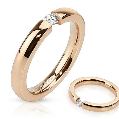 316L Edelstahl Ring Rosegold Rose Gold IP Zirkonia dünn 3 mm elegant Damen