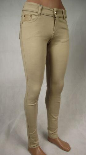 Donna Hüfthose Tregging Stretch Pantaloni Jegging Cotone Beige Chiaro 34 36 38 40
