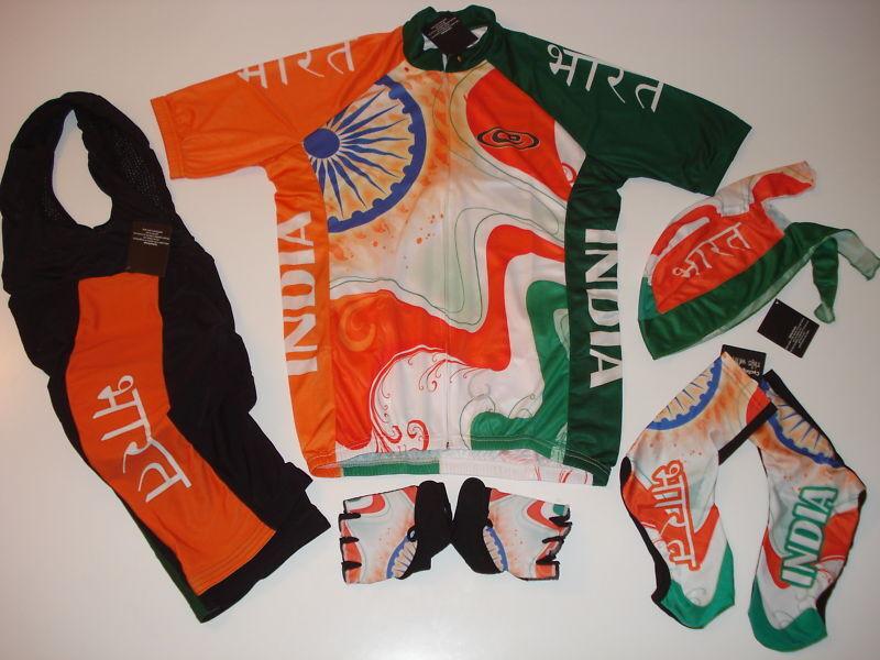 New Größe Small / / Small S - INDIA Team Hindu Cycling Set Jersey Bib Shorts Gloves + a9f64b