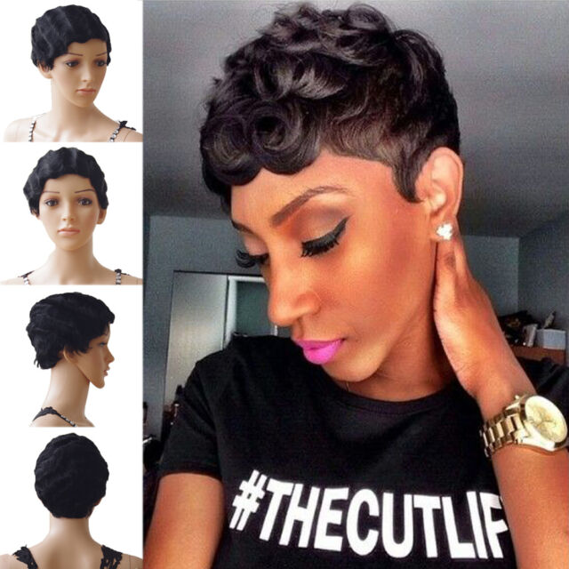 100% Remy Human Hair Finger Wave Mommy Pixie Short Wigs 1920's Flapper Dress ftx