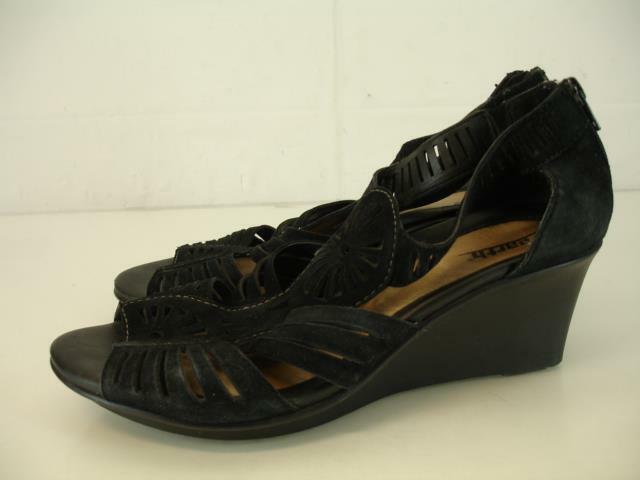 8da8e7ff17903 Womens 9.5 Earth Carraway Wedge Heels Sandals Black Suede Leather ...