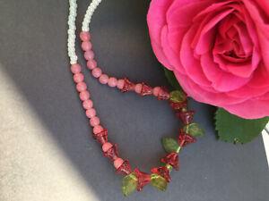 art-deco-Bohemian-Vintage-Pink-Bell-Czech-Glass-Flower-bead-Necklace-Paste