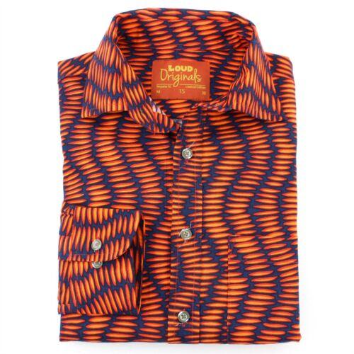 Bruyant Orange Coupe Classique Rétro Chemise Psychédélique Abstrait Homme dwPCFqad