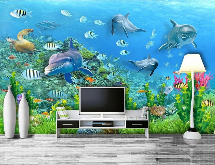 3D Dolphins Plants 85 Wall Paper Murals Wall Print Wall Wallpaper Mural AU Lemon