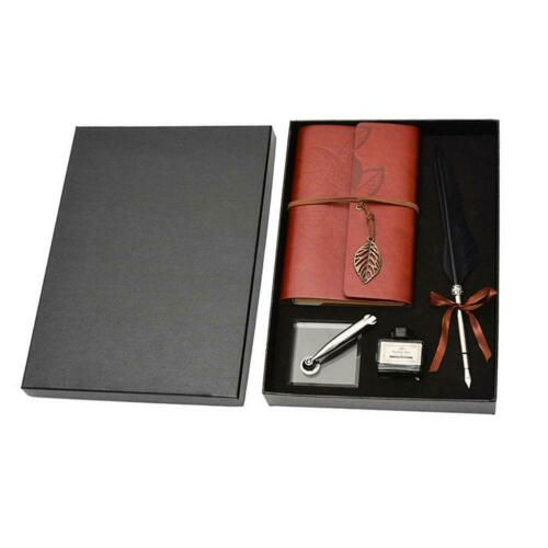 Retro Calligraphy Feather Dip Pen Writing Ink Notebook Set Fountain Pens