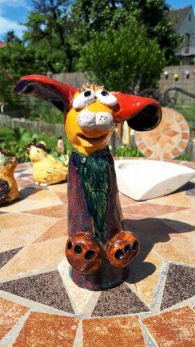 2  Keramik Fantasie Figuren Hund Schwein  Gartenstele Gartenstecker