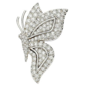 5.50ct Natural Round Diamond 14k White Gold Wedding Anniversary Butterfly Brooch Jewelry & Watches Fine Pins & Brooches