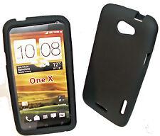 Silikon TPU Handy Cover Case Hülle in Schwarz + Displayschutzfolie für HTC One X