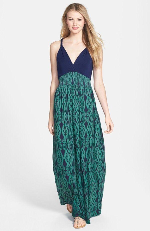 NWT Filicity & Coco Printed Maxi Dress Sz XS Navy Green
