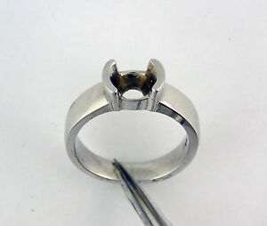 18K-Solid-White-Gold-Half-Bezel-Solitaire-Ring-Mounting-For-1Carat-Round-Stone