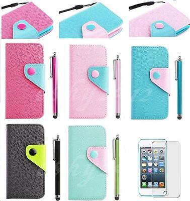 Stylus + Flip Wallet Pouch Leather Hard Case Cover For iPod Touch 4 4TH 5 5G