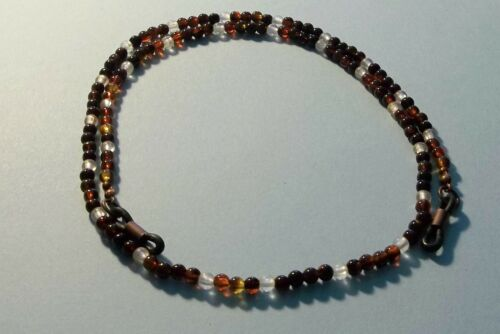 Foster Grant Magnivision Bwn//Wh//Rust//Blk Beaded Eyeglass Eyewear Neck Holder #12