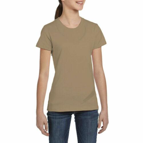 KCST Kids Girls Boys Plain Cap-Sleeve Casual Crew Uniform Jumper T-Shirt Tops