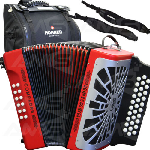 Bag NEW 2019 Hohner Compadre GCF Sol Diatonic Accordion RED with Silver Grille