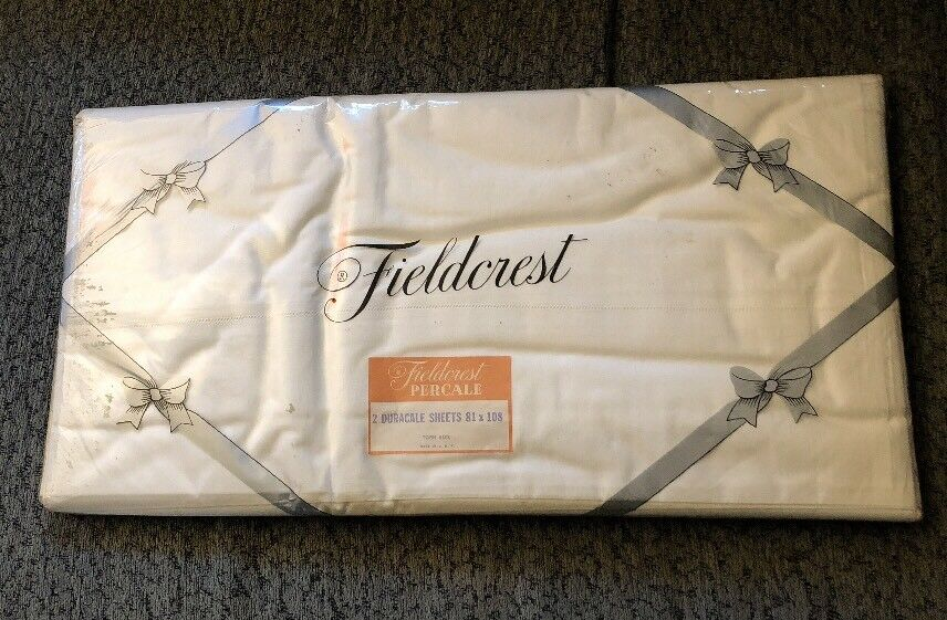 Fieldcrest White Full double Flat Duracale Percale Sheets Torn 81 X 108 New