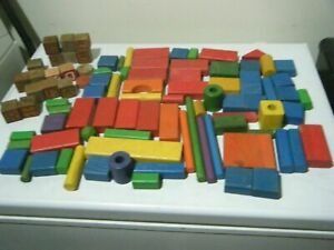 Details About Vintage Colored Wooden Blocks Assorted Shapes Sizes Wood Playskool And Cubes