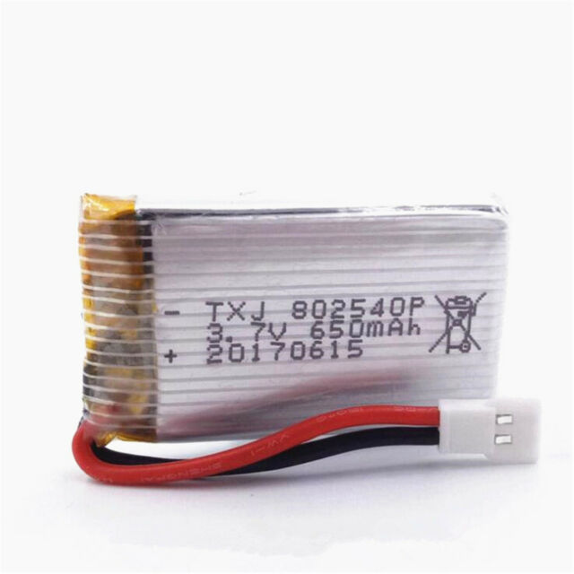 650mAh Rechargeable Lipo Battery JST-Plug For RC Drone Helicopter 802540 3.7V