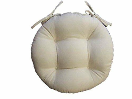 In//Outdoor Universal Round Tufted Bistro Cushion w// Ties Solid Ivory Choose Size