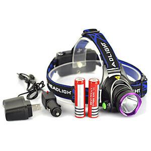 5000LM XM-L T6 LED Rechargeable Headlight Head Lamp + 2Pcs 18650 + Charger US
