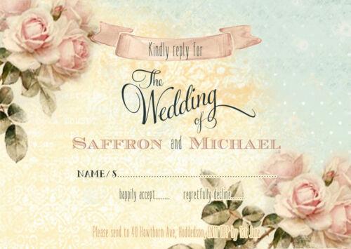 Personnalisé SHABBY CHIC VINTAGE Floral Mariage Invitations Packs de 10