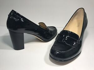 0b0f8a6667ea Image is loading Michael-Kors-Black-Patent-Leather-Penny-Loafer-Heels-