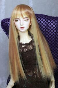 "1/4 7-8"" BJD DOLL WIG MSD STRAIGHT BLOND BLONDE BROWN HAIR BANGS JR-164 NEW USA"