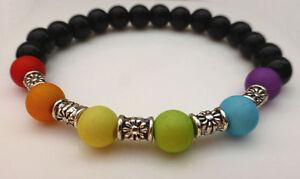 Black-amp-Colourful-Rainbow-Bead-amp-Silver-Flower-Spacer-Bracelet-Gay-Pride-LGBT