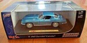 Maisto-1965-Chevrolet-Corvette-Azul-1-18-Scale-Die-Cast-Edicion-Especial