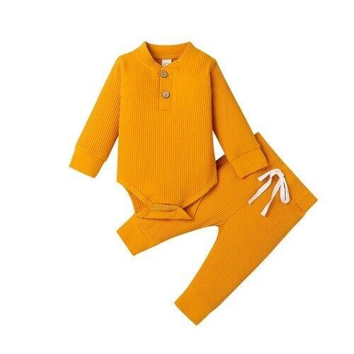 Details about  /Infant Newborn Baby Sets Long Sleeve Bodysuits  Elastic Pants 2PCs Solid Outfits