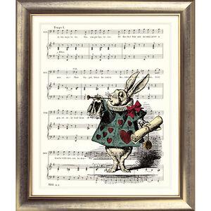 Alice-in-Wonderland-ART-PRINT-ORIGINAL-VINTAGE-MUSIC-SHEET-Page-WHITE-RABBIT-Old