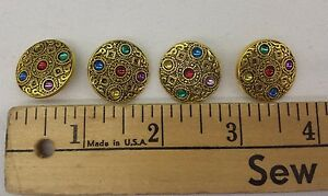 Gold-and-Multi-Colored-Jeweled-Buttons-Plastic-Set-of-4-7-8-034