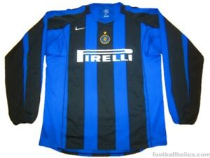 check out 16c11 3d4eb Details about NEW Authentic NIKE Inter Milan 2004/2005 Soccer Jersey Shirt  Large Long Sleeve L