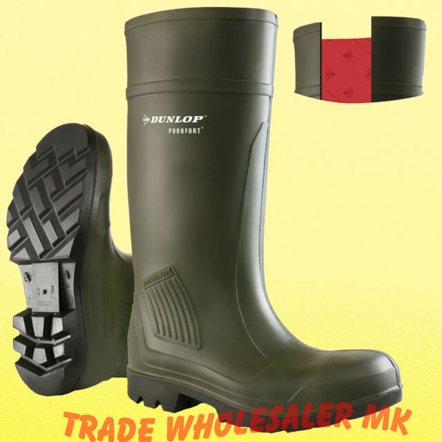 Dunlop Purofort Full Safety  Wellies Wellington Work Boots Green Waterproof 6-13