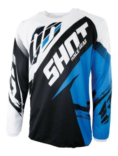 ADULTS BMX DOWNHILL MOUNTAIN BIKE JERSEY BLUE BLACK SHOT CONTACT FAST BLUE
