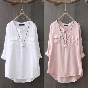 ZANZEA-Femme-Chemise-Blouse-Loose-Decontracte-lache-Manche-Longue-Shirt-Plus
