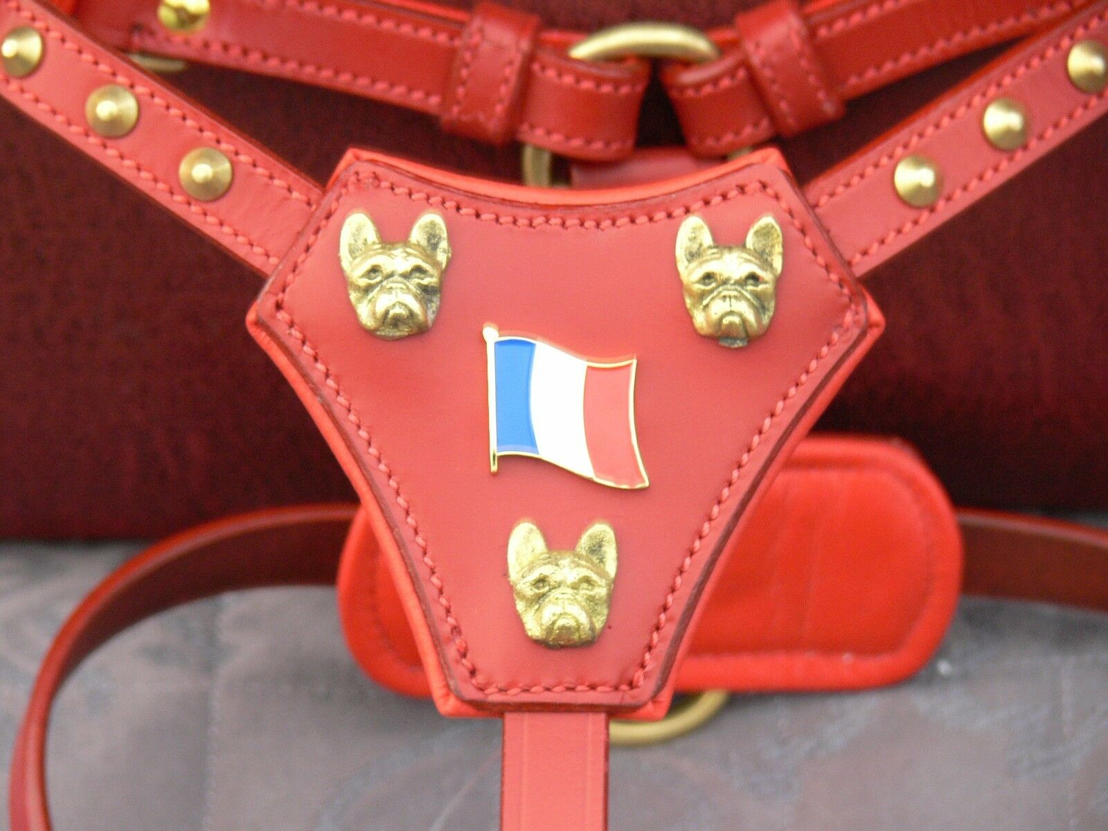 NEW LEATHER- FRENCH BULL DOG HARNESS IN 3-COLOURS WITH HEADS AND FRENCH FLAG