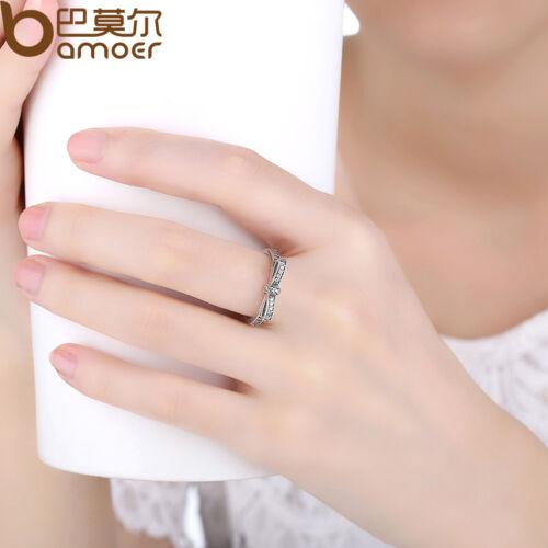 S925 Anillo de plata esterlina con Moño Europeo Con Cristal Piedra Joyería Talla 6-9