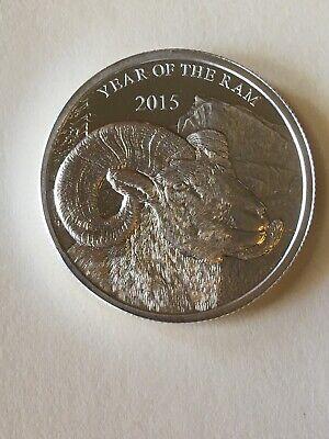 2015 Year of the Ram 1 Troy oz .999 Fine Silver Bullion Round