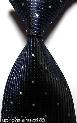 New Stripes Dots Dark Blue White JACQUARD WOVEN 100% Silk Men's Tie Necktie