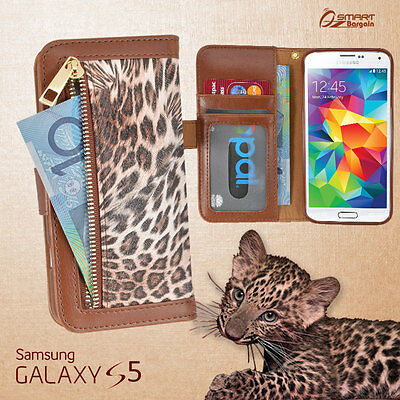 Leopard Zip Wallet Bag ID Card Flip Leather Case Cover For Samsung Glaxy S5 + SP