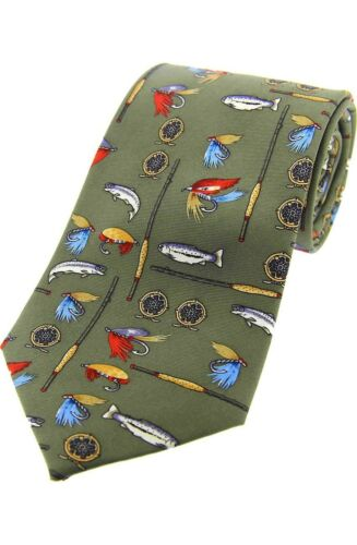 Fly Fishing Tie  light Green Silk Rods and Reels Tie Gift SILK new
