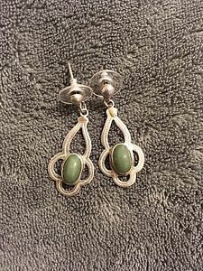 Image Is Loading 925 Sterling Silver Jade Earrings Vintage Rare