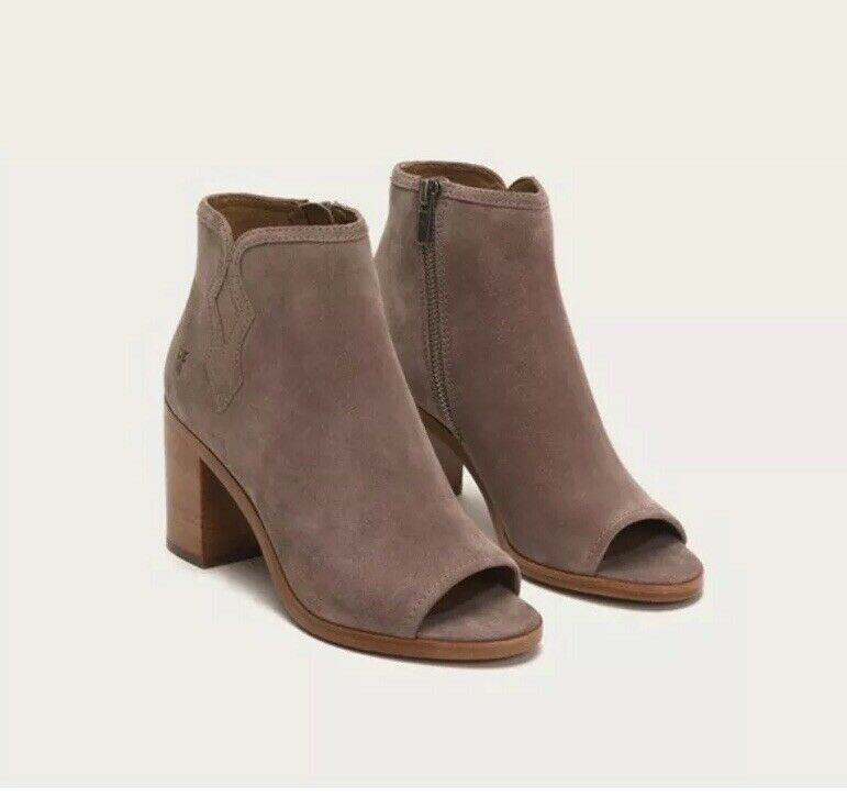 New FRYE Danica Peep Toe Booties Ankle Boots Sand Suede Women's Sz 9  298