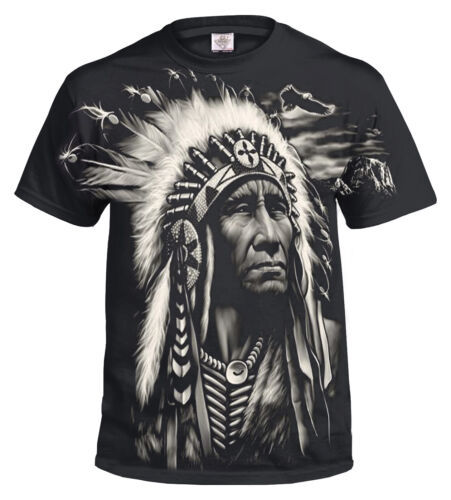 INDIAN FACE NATIVE AMERICAN FULL PRINT COTTON T Shirt//Biker//Wolf//Dream Catcher