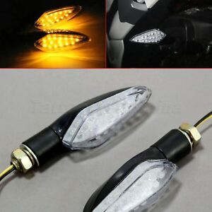 2x Red Motorcycle 9 LED Turn Signal Indicators Amber Light For Suzuki GSXR 750