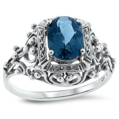 GENUINE  SKY BLUE TOPAZ ANTIQUE VICTORIAN STYLE .925 SILVER RING SIZE 6.75 #66