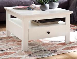 Couchtisch Weiß Landhaus Beistelltisch Schubkasten Wohnzimmer Sofa