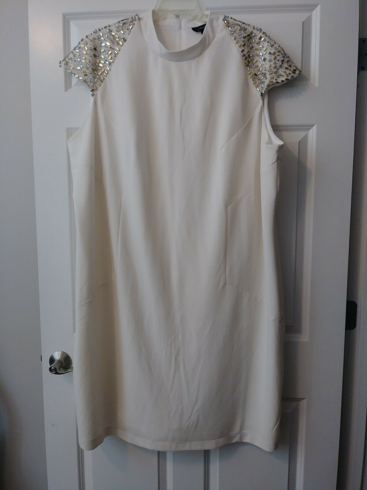 Ladies Dress Size 34 36 Cream with gold and Diamond Sleeves by Ashley Stewart